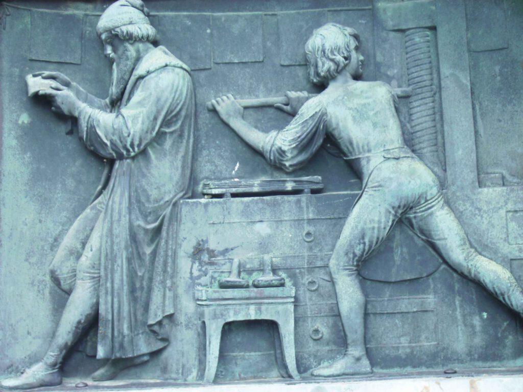 Johannes Gutenberg in seiner Werkstatt. Frohe Botschaft Juli 2020
