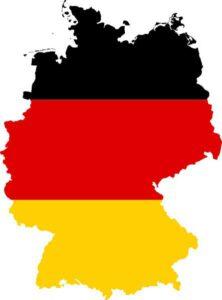 Landkarte Deutschland in den Nationalfarben